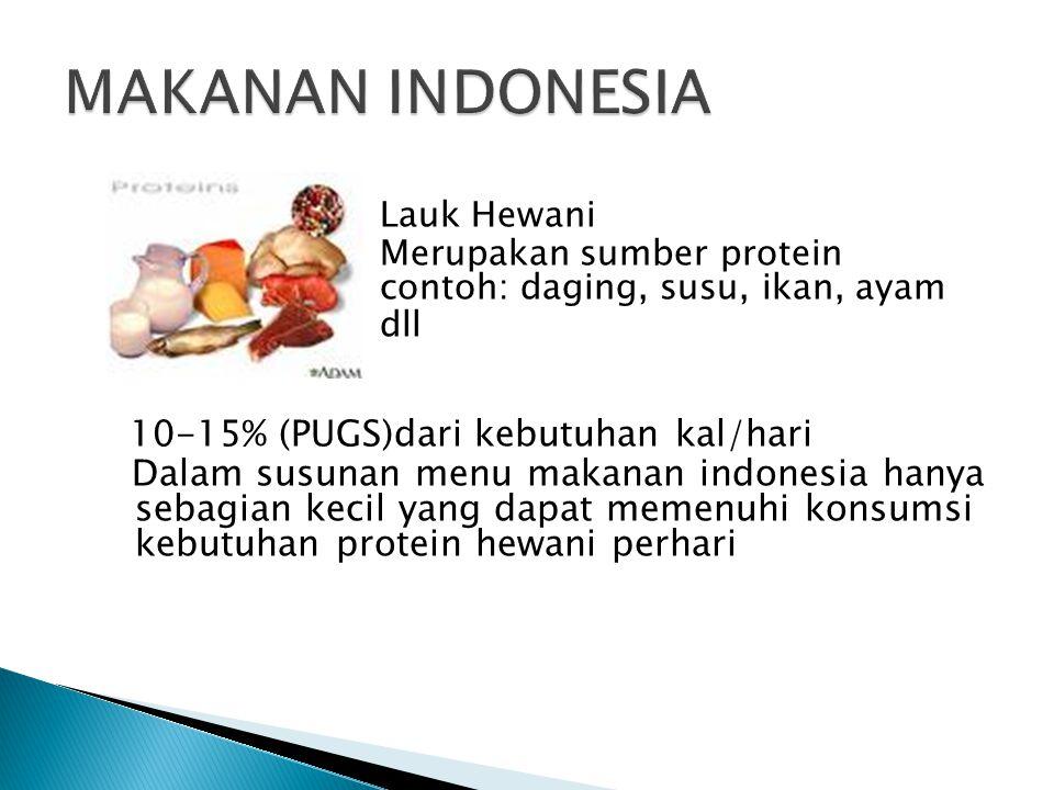 Lauk Hewani Merupakan sumber protein contoh: daging, susu, ikan, ayam dll 10-15% (PUGS)dari kebutuhan kal/hari Dalam susunan menu makanan indonesia hanya sebagian kecil yang dapat memenuhi konsumsi kebutuhan protein hewani perhari