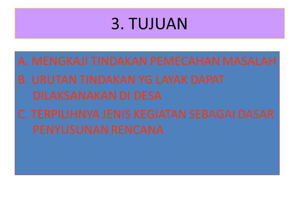 3.TUJUAN A. MENGKAJI TINDAKAN PEMECAHAN MASALAH B.