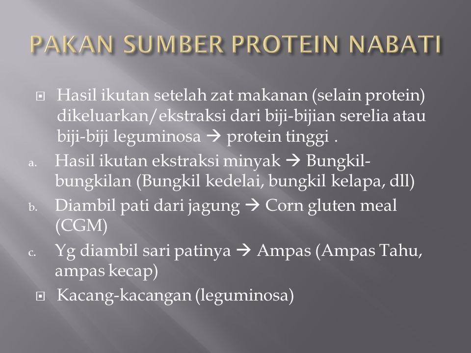  Tepung ikan  Tepung daging dan tulang (MBM)  Tepung daging  Tepung bulu yang telah dihidrolisis (PM)  Tepung limbah unggas (PBM)  Tepung darah (BM)  Susu Skim
