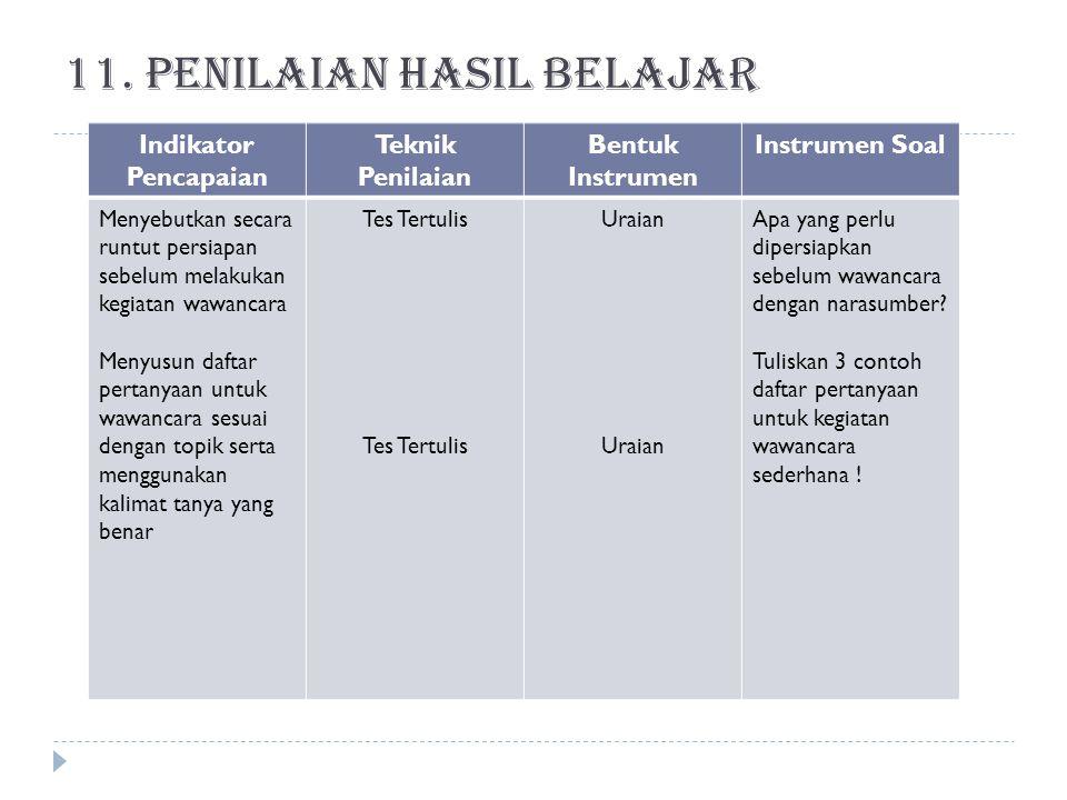 10. Sumber belajar  KTSP 2006, BNSP  Buku Paket Bahasa Indonesia Bse  Nara sumber disekitar sekolah  Internet