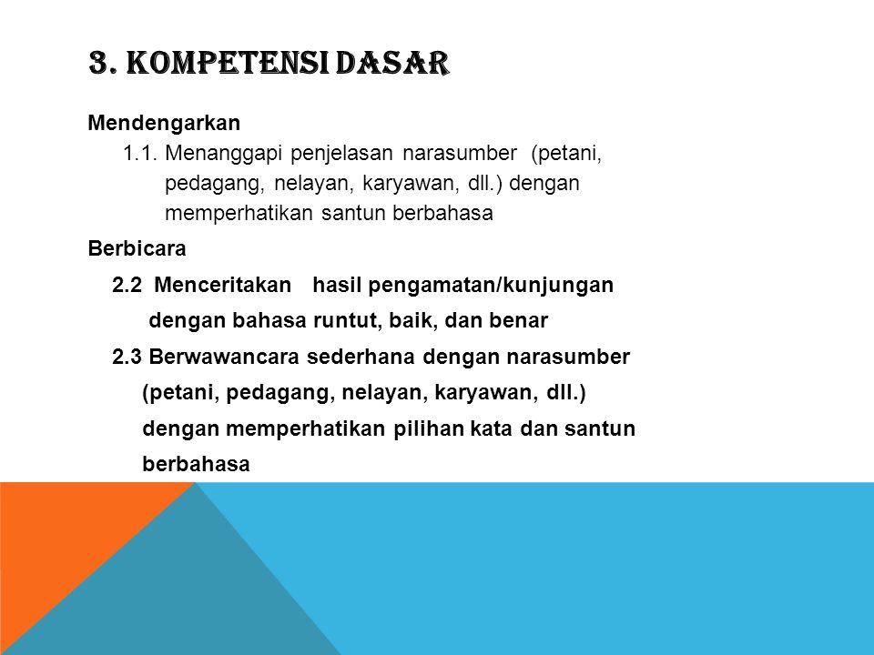2. Standar kompetensi  Mendengarkan 1. Memahami penjelasan narasumber dan cerita rakyat secara lisan  Berbicara 2. Mengungkapkan pikiran, pendapat,