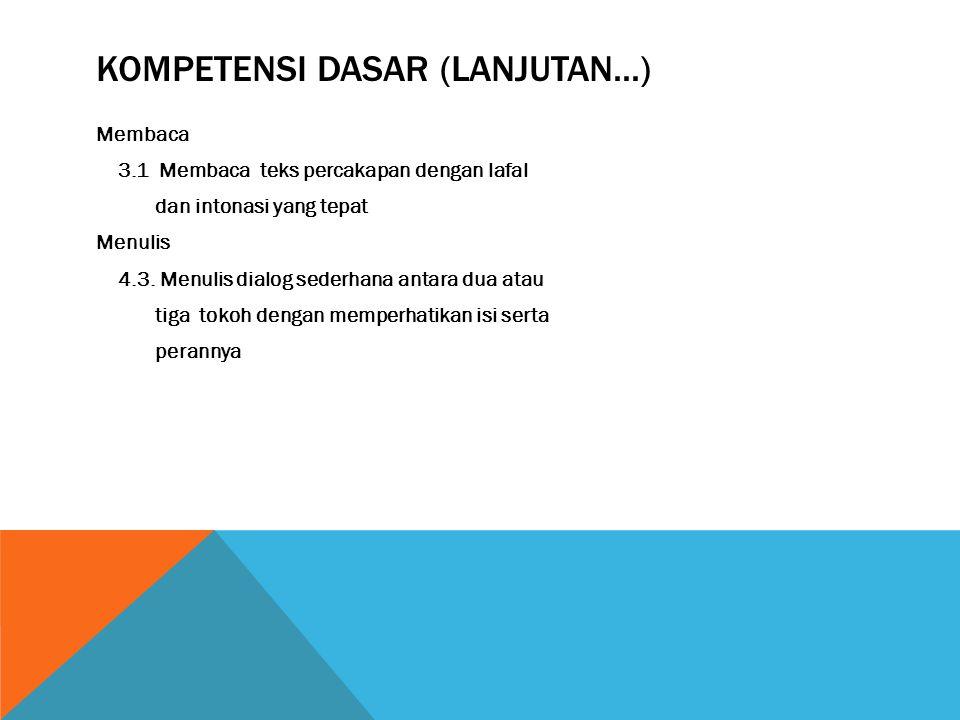 3. KOMPETENSI DASAR Mendengarkan 1.1. Menanggapi penjelasan narasumber (petani, pedagang, nelayan, karyawan, dll.) dengan memperhatikan santun berbaha