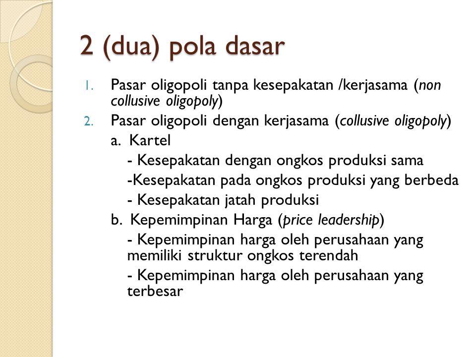 2 (dua) pola dasar 1. Pasar oligopoli tanpa kesepakatan /kerjasama (non collusive oligopoly) 2. Pasar oligopoli dengan kerjasama (collusive oligopoly)