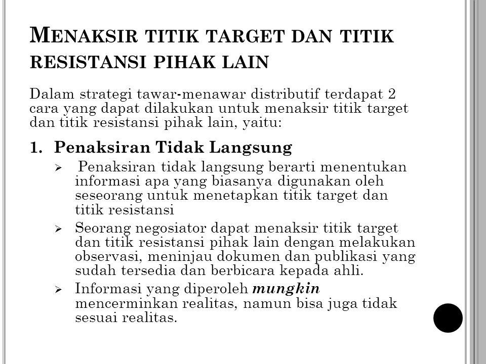 M ENAKSIR TITIK TARGET DAN TITIK RESISTANSI PIHAK LAIN Dalam strategi tawar-menawar distributif terdapat 2 cara yang dapat dilakukan untuk menaksir ti