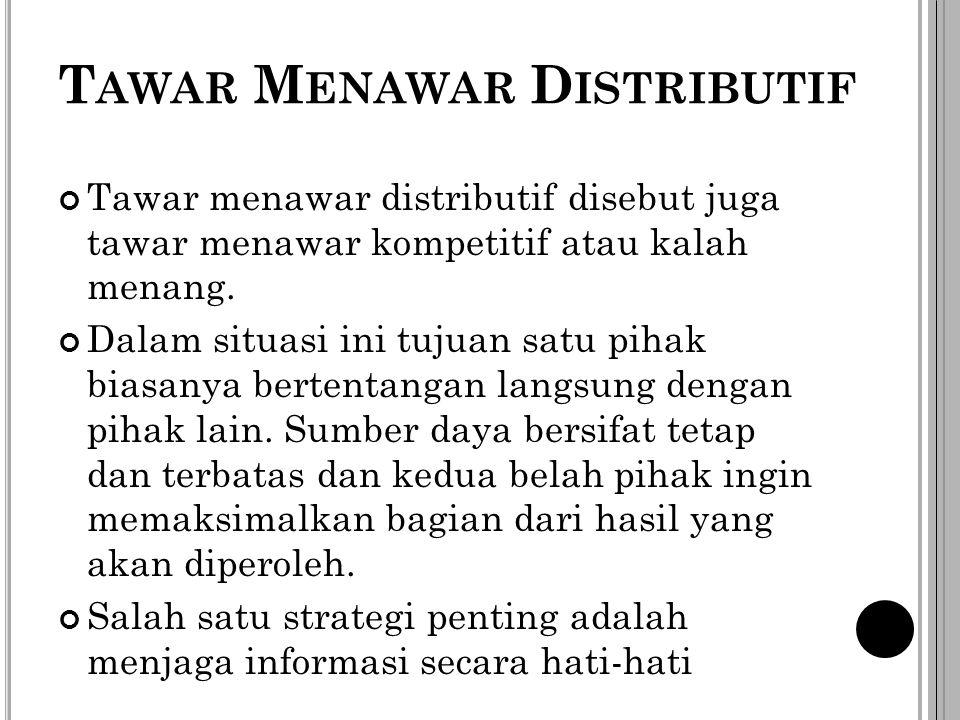 T AWAR M ENAWAR D ISTRIBUTIF Tawar menawar distributif disebut juga tawar menawar kompetitif atau kalah menang. Dalam situasi ini tujuan satu pihak bi