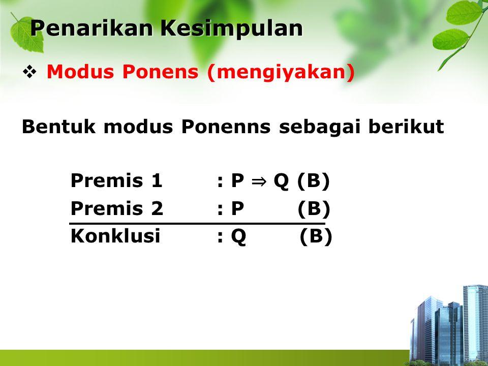  Modus Ponens (mengiyakan) Bentuk modus Ponenns sebagai berikut Premis 1 : P ⇒ Q (B) Premis 2 : P (B) Konklusi : Q (B) Penarikan Kesimpulan Penarikan
