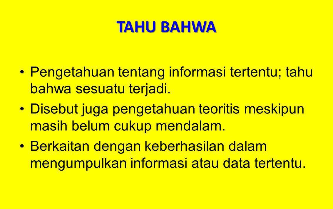 TAHU BAHWA Pengetahuan tentang informasi tertentu; tahu bahwa sesuatu terjadi. Disebut juga pengetahuan teoritis meskipun masih belum cukup mendalam.