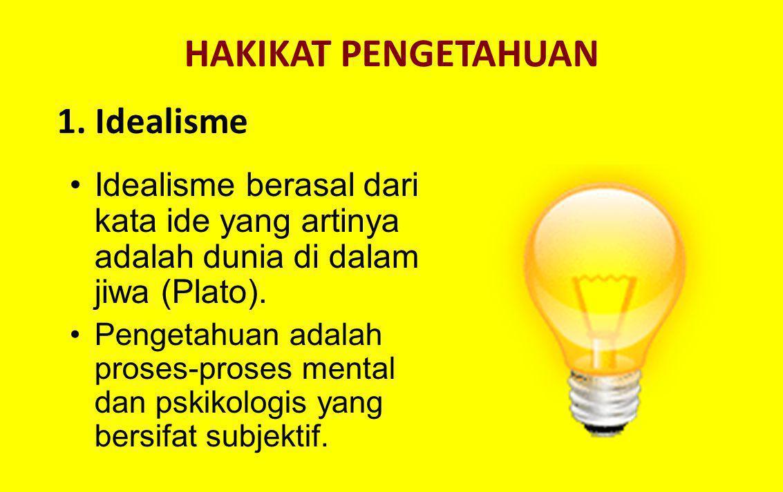 HAKIKAT PENGETAHUAN Idealisme berasal dari kata ide yang artinya adalah dunia di dalam jiwa (Plato). Pengetahuan adalah proses-proses mental dan pskik