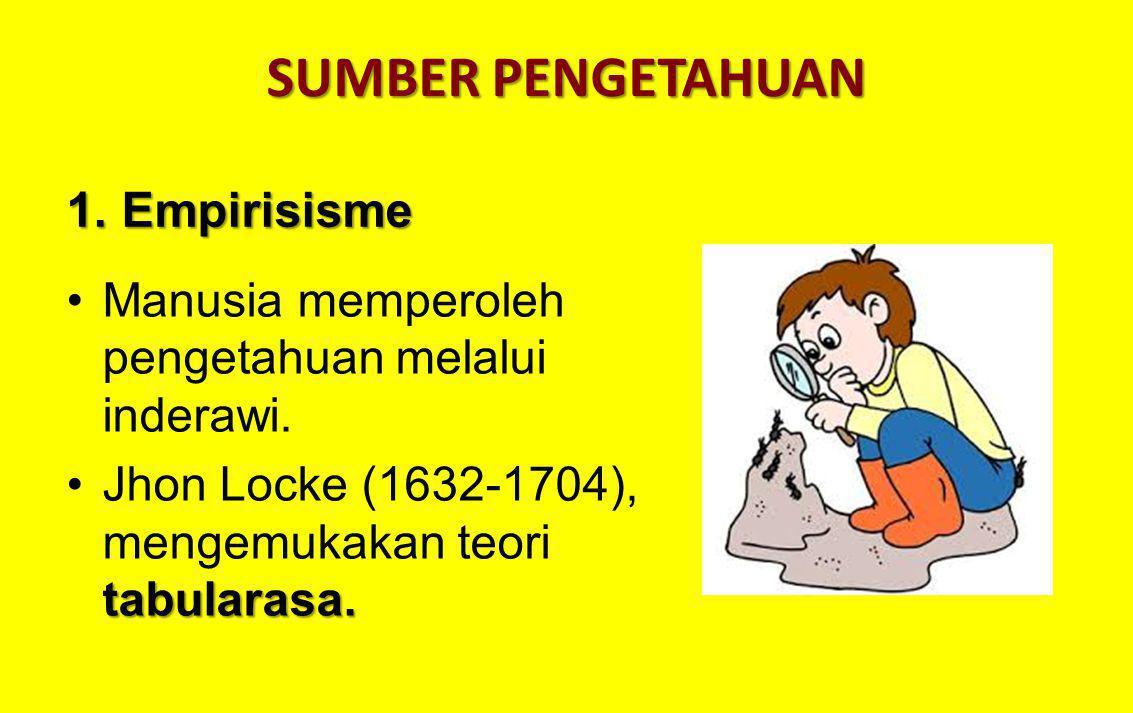SUMBER PENGETAHUAN Manusia memperoleh pengetahuan melalui inderawi. tabularasa.Jhon Locke (1632-1704), mengemukakan teori tabularasa. 1. Empirisisme