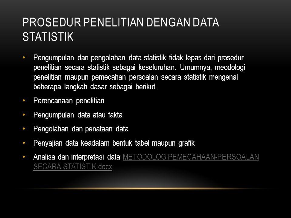 PROSEDUR PENELITIAN DENGAN DATA STATISTIK Pengumpulan dan pengolahan data statistik tidak lepas dari prosedur penelitian secara statistik sebagai keseluruhan.