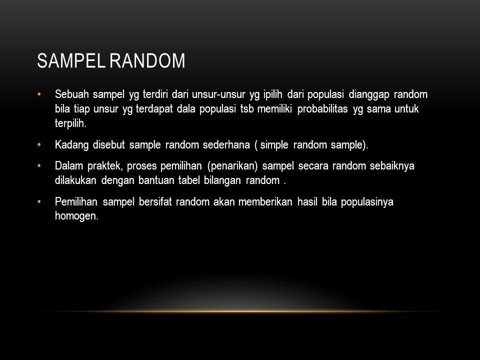 SAMPEL RANDOM Sebuah sampel yg terdiri dari unsur-unsur yg ipilih dari populasi dianggap random bila tiap unsur yg terdapat dala populasi tsb memiliki probabilitas yg sama untuk terpilih.
