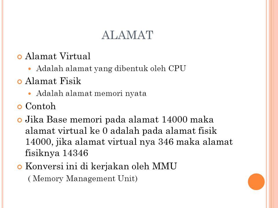 ALAMAT Alamat Virtual Adalah alamat yang dibentuk oleh CPU Alamat Fisik Adalah alamat memori nyata Contoh Jika Base memori pada alamat 14000 maka alam