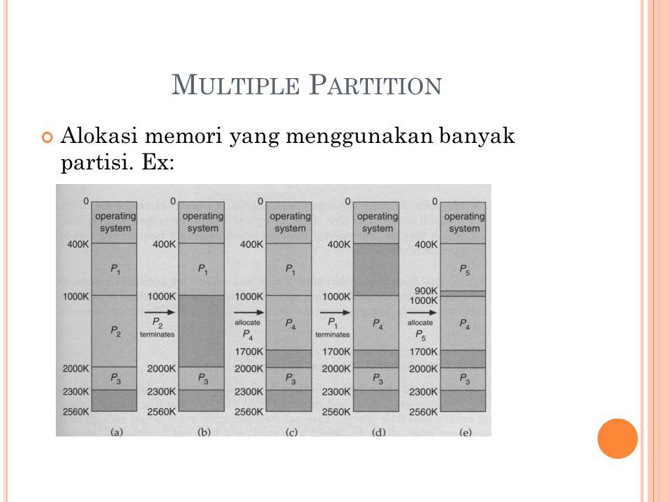 M ULTIPLE P ARTITION Alokasi memori yang menggunakan banyak partisi. Ex: