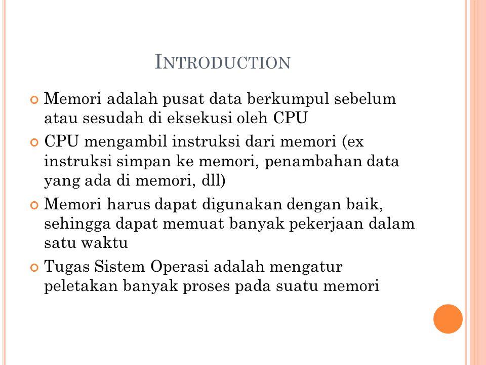 I NTRODUCTION Memori adalah pusat data berkumpul sebelum atau sesudah di eksekusi oleh CPU CPU mengambil instruksi dari memori (ex instruksi simpan ke