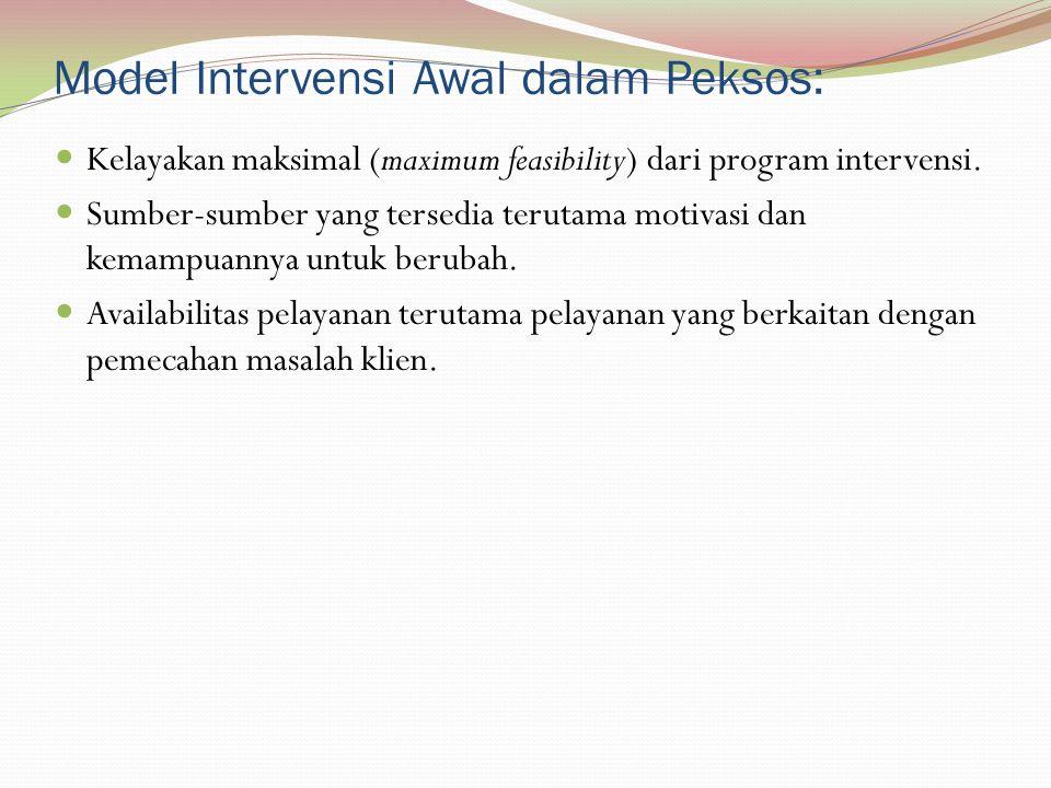 Model Intervensi Awal dalam Peksos: Kelayakan maksimal (maximum feasibility) dari program intervensi. Sumber-sumber yang tersedia terutama motivasi da