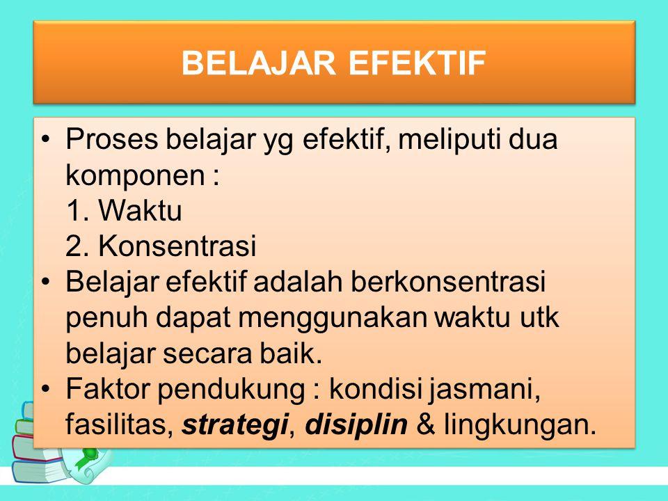 BELAJAR EFEKTIF Proses belajar yg efektif, meliputi dua komponen : 1.