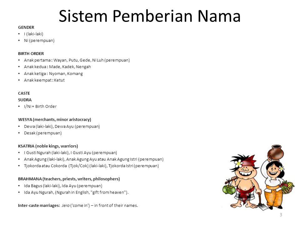 Sistem Pemberian Nama GENDER I (laki-laki) Ni (perempuan) BIRTH ORDER Anak pertama : Wayan, Putu, Gede, Ni Luh (perempuan) Anak kedua : Made, Kadek, N