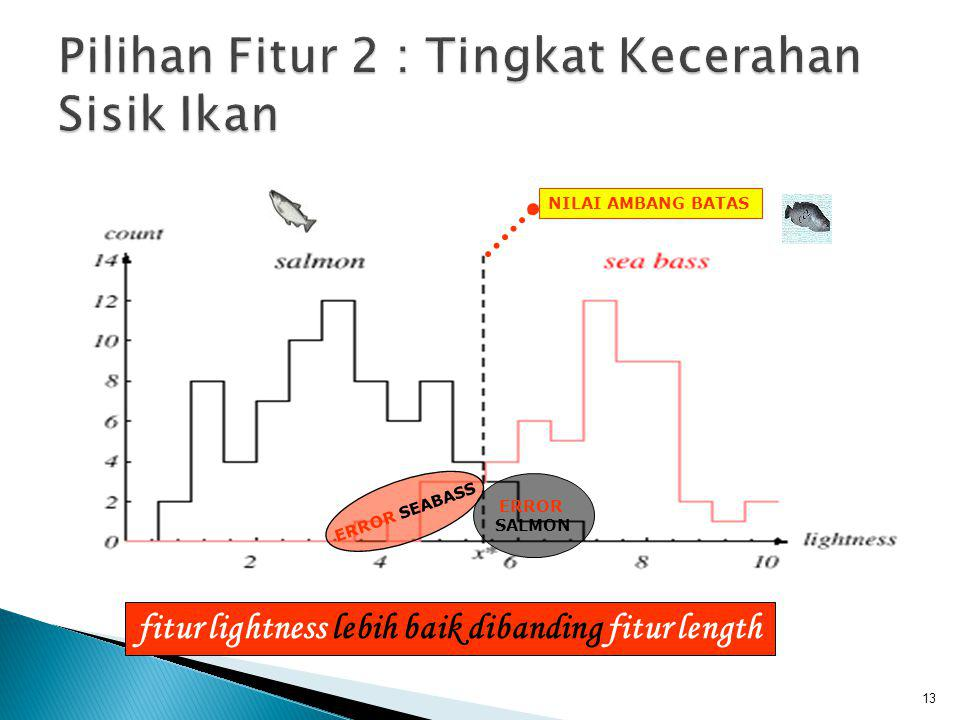 13 ERROR SEABASS ERROR SALMON NILAI AMBANG BATAS fitur lightness lebih baik dibanding fitur length