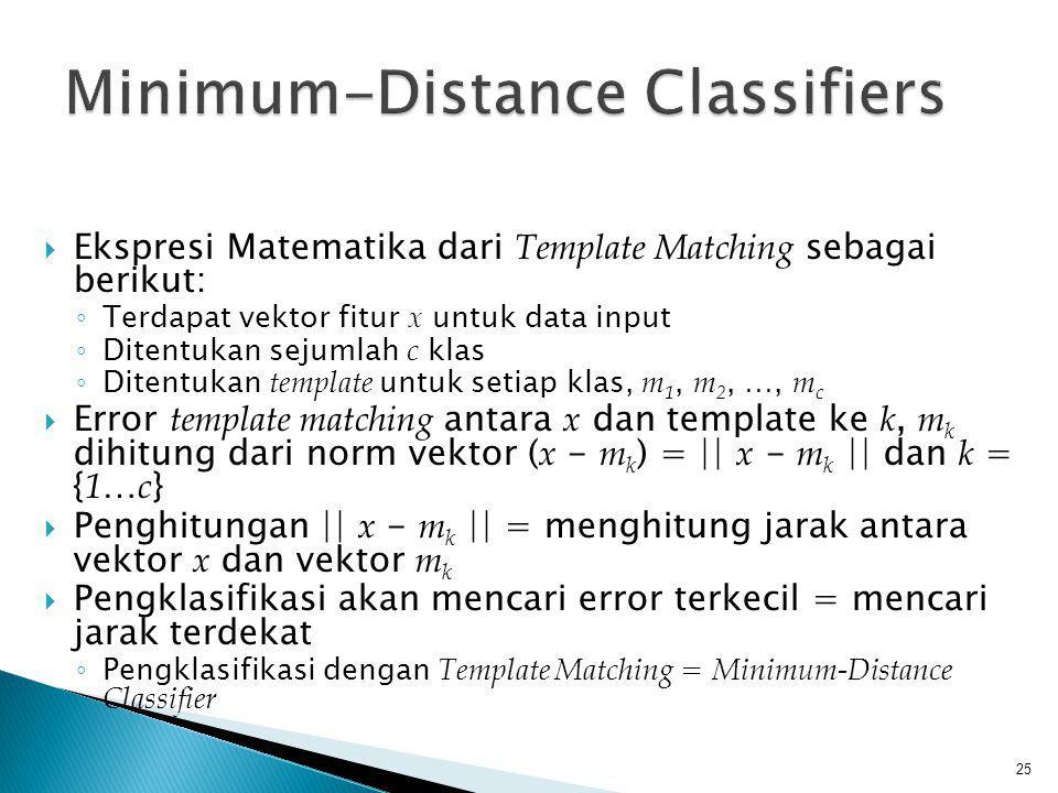  Ekspresi Matematika dari Template Matching sebagai berikut: ◦ Terdapat vektor fitur x untuk data input ◦ Ditentukan sejumlah c klas ◦ Ditentukan tem