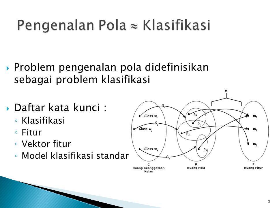  Problem pengenalan pola didefinisikan sebagai problem klasifikasi  Daftar kata kunci : ◦ Klasifikasi ◦ Fitur ◦ Vektor fitur ◦ Model klasifikasi sta