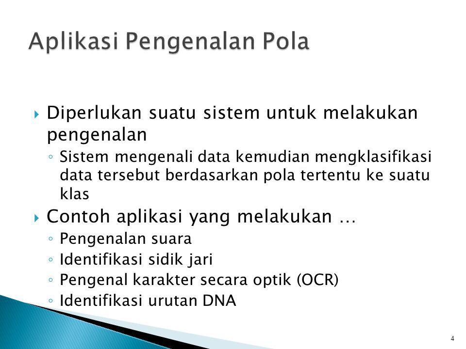  Diperlukan suatu sistem untuk melakukan pengenalan ◦ Sistem mengenali data kemudian mengklasifikasi data tersebut berdasarkan pola tertentu ke suatu