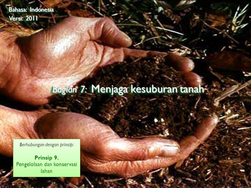 ©2009 Rainforest Alliance Bagian 7: Menjaga kesuburan tanah Bahasa: Indonesia Versi: 2011 Berhubungan dengan prinsip: Prinsip 9.