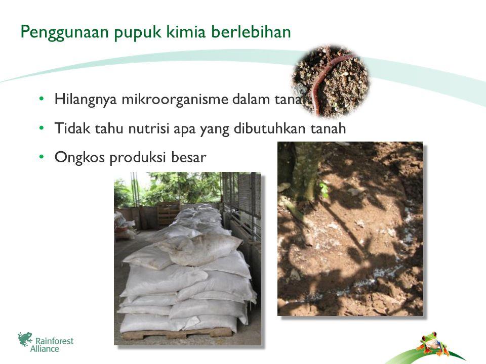 Penggunaan pupuk kimia berlebihan Hilangnya mikroorganisme dalam tanah Tidak tahu nutrisi apa yang dibutuhkan tanah Ongkos produksi besar