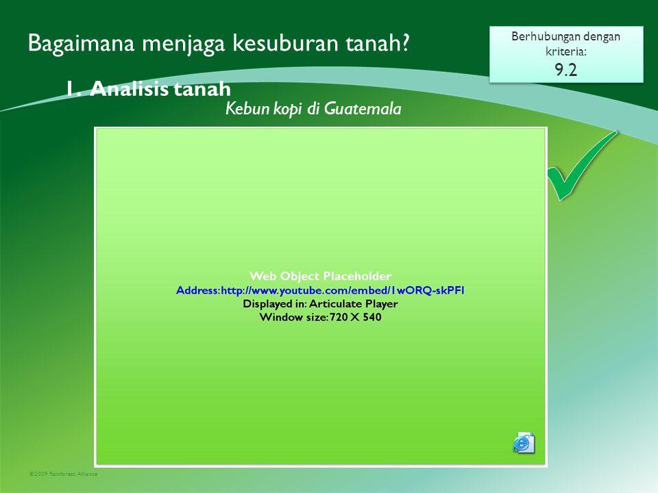 ©2009 Rainforest Alliance Bagaimana menjaga kesuburan tanah.
