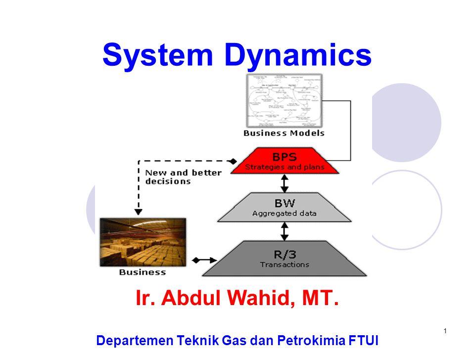 1 System Dynamics Ir. Abdul Wahid, MT. Departemen Teknik Gas dan Petrokimia FTUI