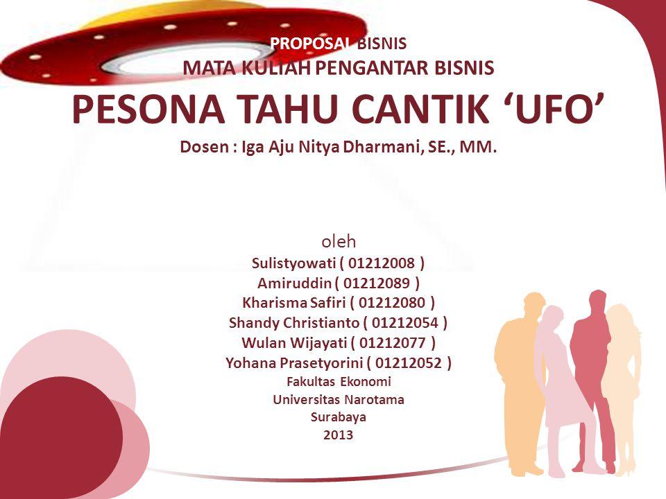 PROPOSAL BISNIS MATA KULIAH PENGANTAR BISNIS PESONA TAHU CANTIK 'UFO' Dosen : Iga Aju Nitya Dharmani, SE., MM. oleh Sulistyowati ( 01212008 ) Amiruddi