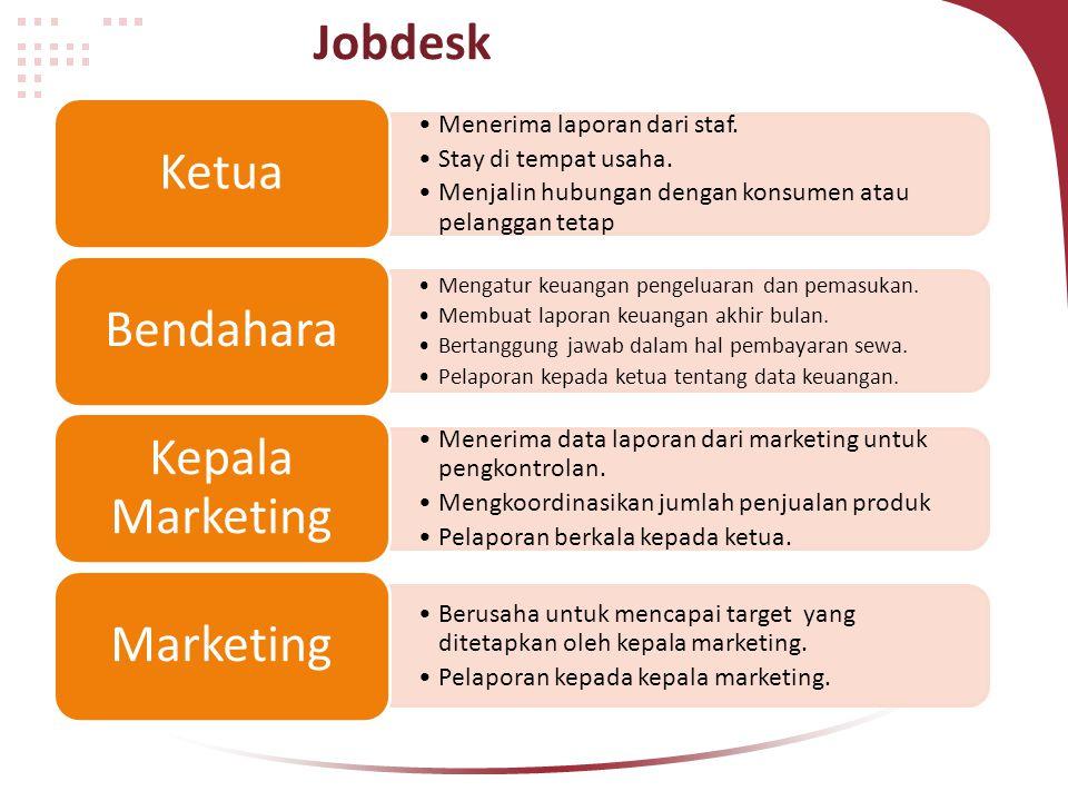 Jobdesk Menerima laporan dari staf. Stay di tempat usaha. Menjalin hubungan dengan konsumen atau pelanggan tetap Ketua Mengatur keuangan pengeluaran d
