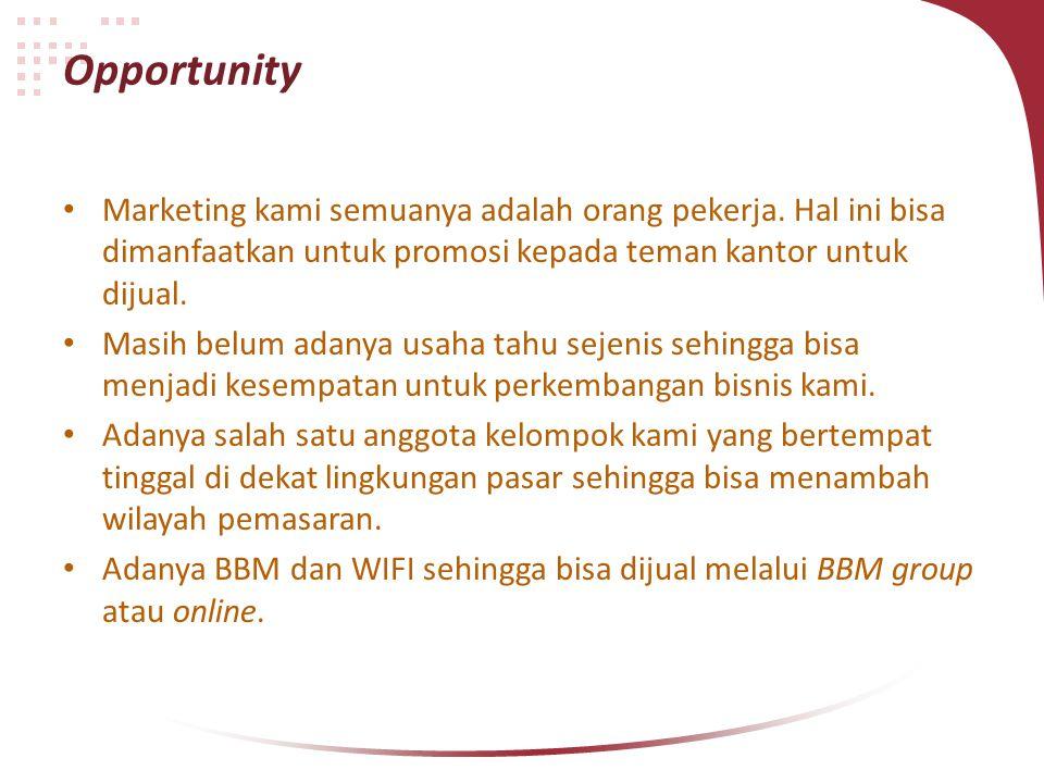 Opportunity Marketing kami semuanya adalah orang pekerja. Hal ini bisa dimanfaatkan untuk promosi kepada teman kantor untuk dijual. Masih belum adanya