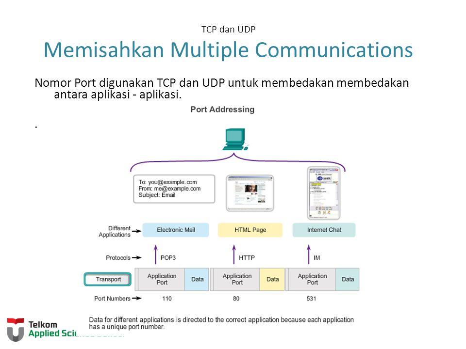 TCP dan UDP Memisahkan Multiple Communications Nomor Port digunakan TCP dan UDP untuk membedakan membedakan antara aplikasi - aplikasi..