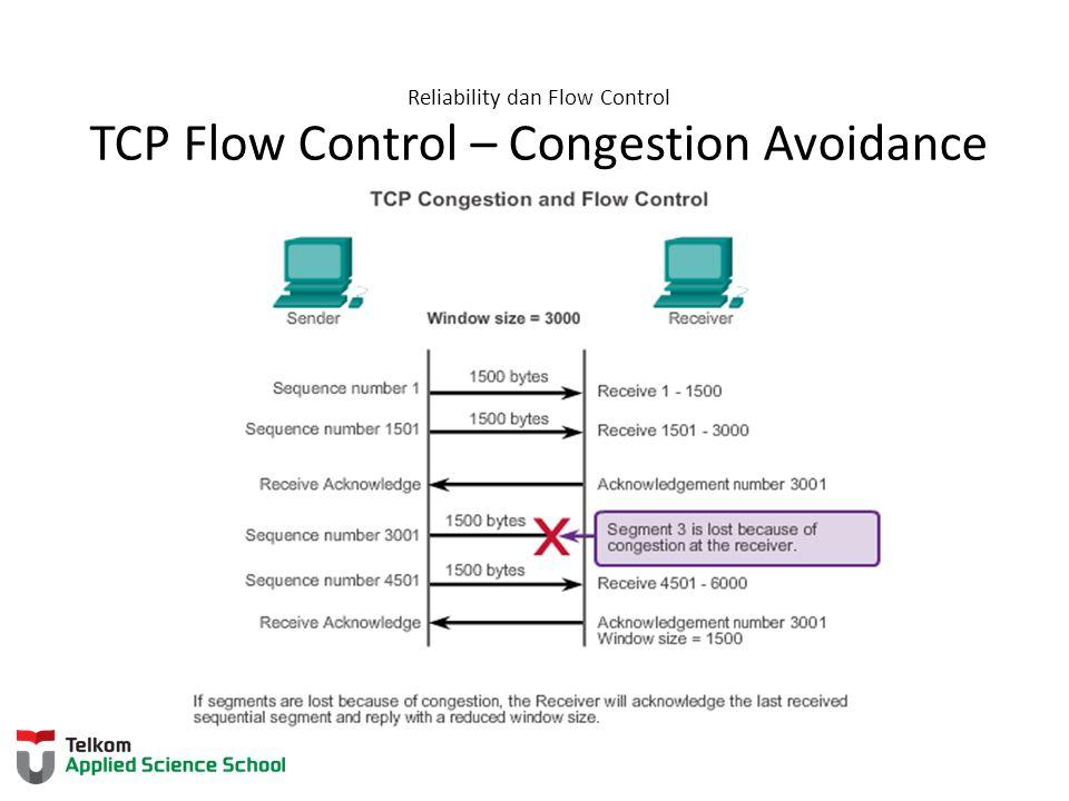 Reliability dan Flow Control TCP Flow Control – Congestion Avoidance