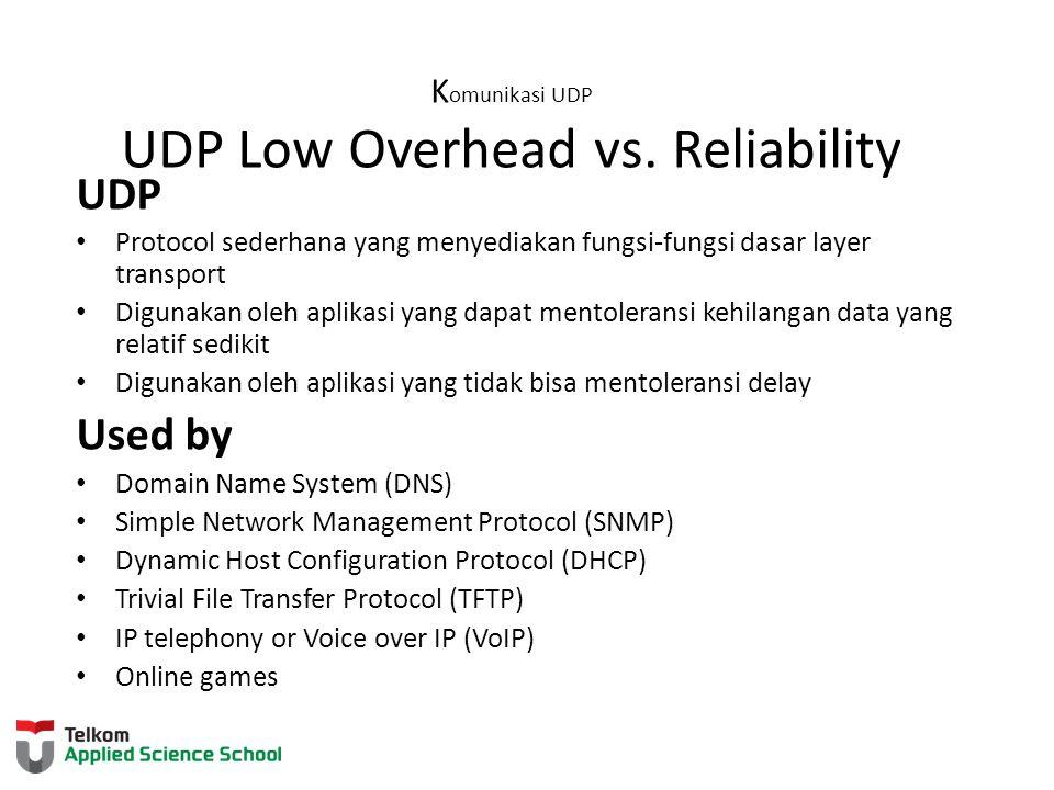 K omunikasi UDP UDP Low Overhead vs. Reliability UDP Protocol sederhana yang menyediakan fungsi-fungsi dasar layer transport Digunakan oleh aplikasi y
