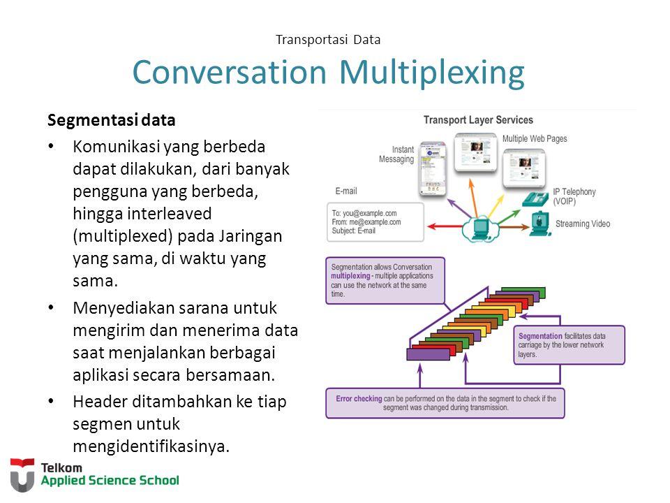 Transportasi Data Conversation Multiplexing Segmentasi data Komunikasi yang berbeda dapat dilakukan, dari banyak pengguna yang berbeda, hingga interle