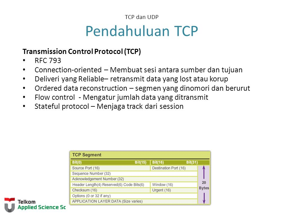 TCP dan UDP Pendahuluan TCP Transmission Control Protocol (TCP) RFC 793 Connection-oriented – Membuat sesi antara sumber dan tujuan Deliveri yang Reli