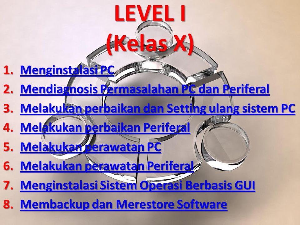 LEVEL I (Kelas X) 1.Menginstalasi PC Menginstalasi PCMenginstalasi PC 2.Mendiagnosis Permasalahan PC dan Periferal Mendiagnosis Permasalahan PC dan PeriferalMendiagnosis Permasalahan PC dan Periferal 3.Melakukan perbaikan dan Setting ulang sistem PC Melakukan perbaikan dan Setting ulang sistem PCMelakukan perbaikan dan Setting ulang sistem PC 4.Melakukan perbaikan Periferal Melakukan perbaikan PeriferalMelakukan perbaikan Periferal 5.Melakukan perawatan PC Melakukan perawatan PCMelakukan perawatan PC 6.Melakukan perawatan Periferal Melakukan perawatan PeriferalMelakukan perawatan Periferal 7.Menginstalasi Sistem Operasi Berbasis GUI Menginstalasi Sistem Operasi Berbasis GUIMenginstalasi Sistem Operasi Berbasis GUI 8.Membackup dan Merestore Software Membackup dan Merestore SoftwareMembackup dan Merestore Software