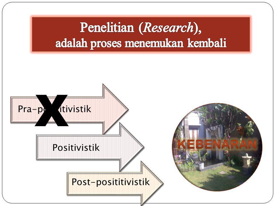 Pra-posititivistik Positivistik Post-posititivistik X