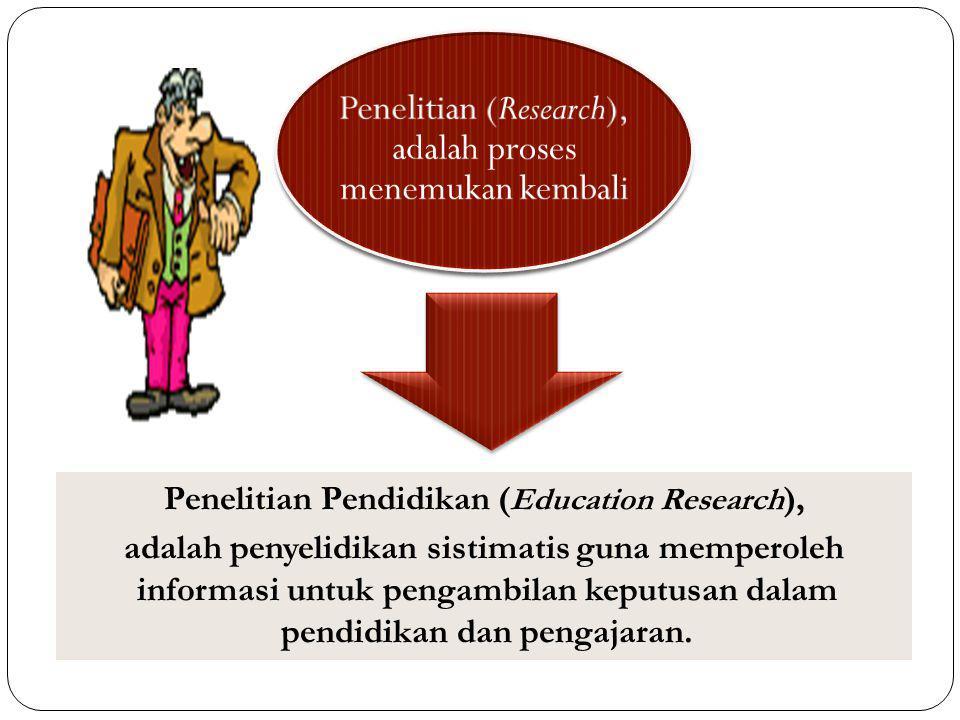 Penelitian (Research), adalah proses menemukan kembali Penelitian Pendidikan ( Education Research ), adalah penyelidikan sistimatis guna memperoleh in