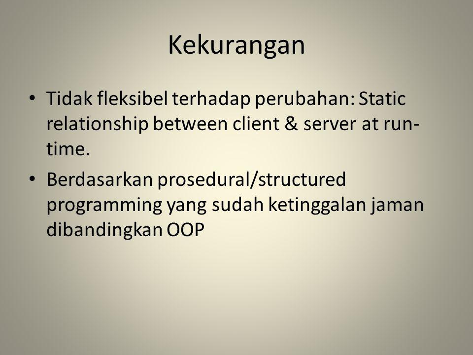 Kekurangan Tidak fleksibel terhadap perubahan: Static relationship between client & server at run- time. Berdasarkan prosedural/structured programming