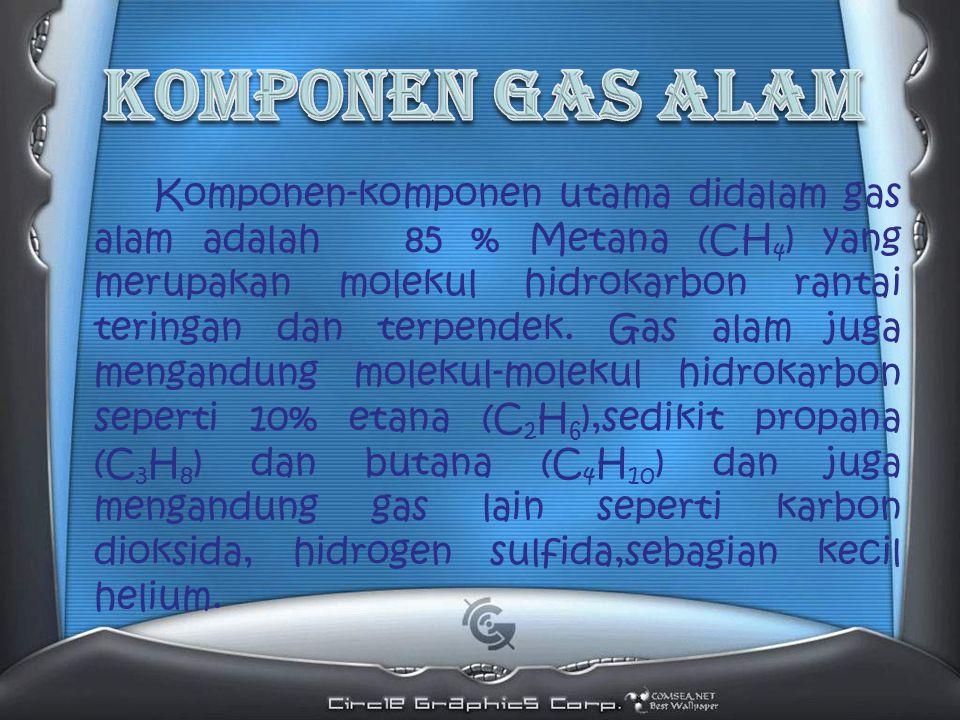 Komponen-komponen utama didalam gas alam adalah 85 % Metana (CH 4 ) yang merupakan molekul hidrokarbon rantai teringan dan terpendek.