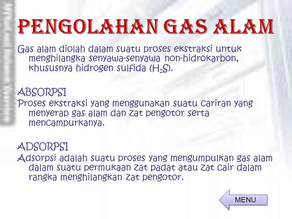 Gas alam diolah dalam suatu proses ekstraksi untuk menghilangka senyawa-senyawa non-hidrokarbon, khususnya hidrogen sulfida (H 2 S).