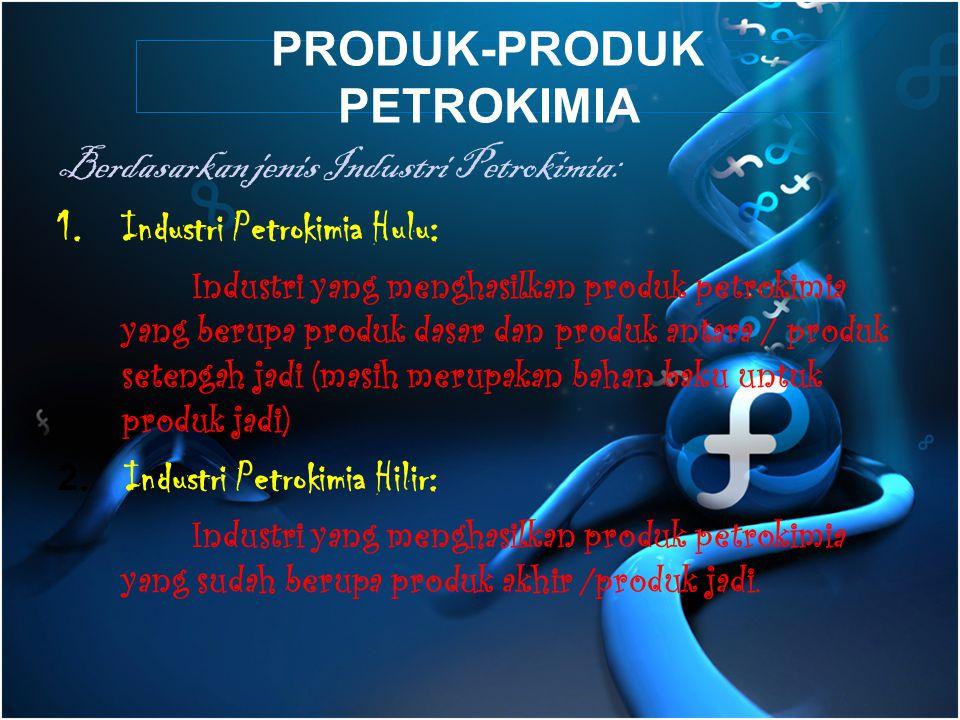PRODUK-PRODUK PETROKIMIA Berdasarkan jenis Industri Petrokimia: 1.Industri Petrokimia Hulu: Industri yang menghasilkan produk petrokimia yang berupa produk dasar dan produk antara / produk setengah jadi (masih merupakan bahan baku untuk produk jadi) 2.