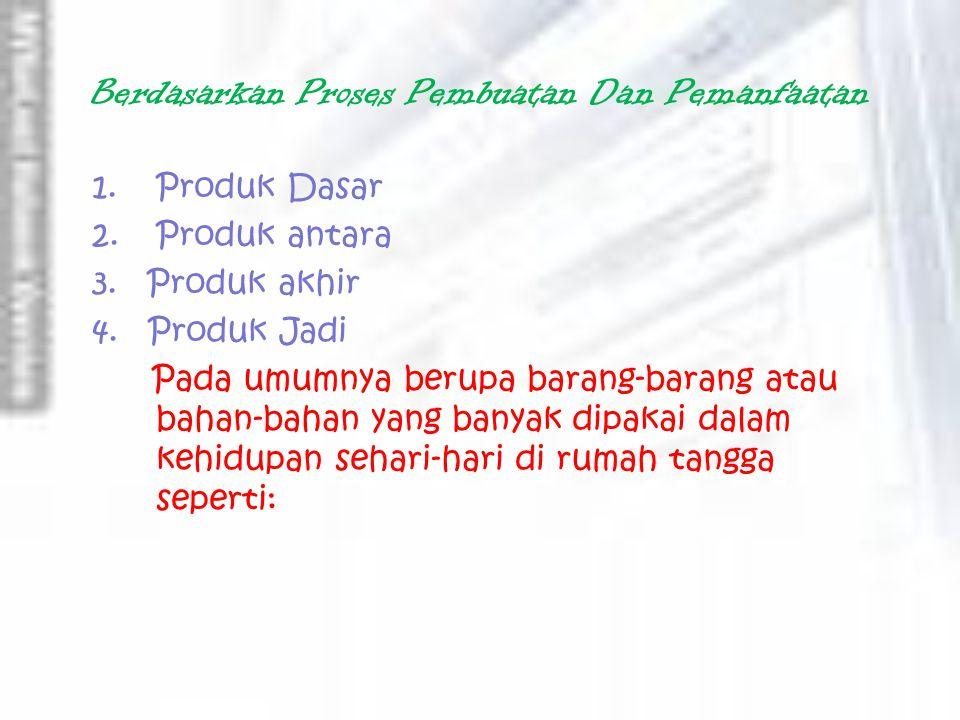 Berdasarkan Proses Pembuatan Dan Pemanfaatan 1.Produk Dasar 2.Produk antara 3.