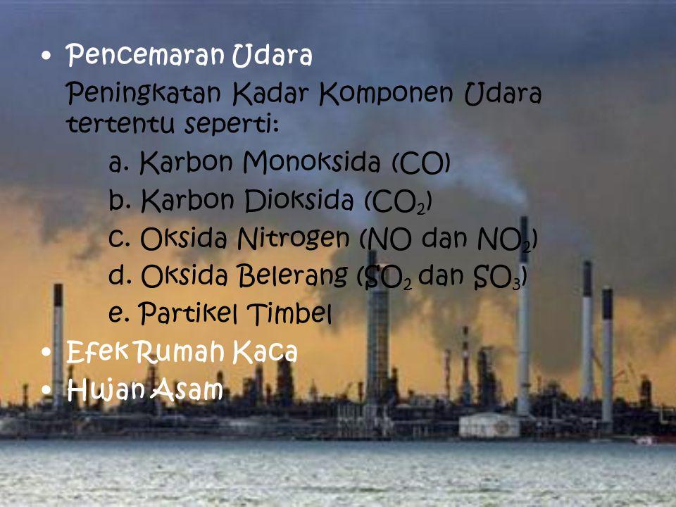 Pencemaran Udara Peningkatan Kadar Komponen Udara tertentu seperti: a.