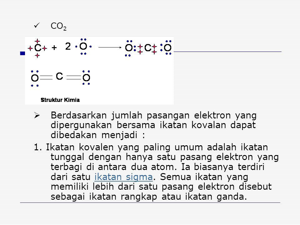 2.Ikatan yang berbagi dua pasangan elektron dinamakan ikatan rangkap dua.