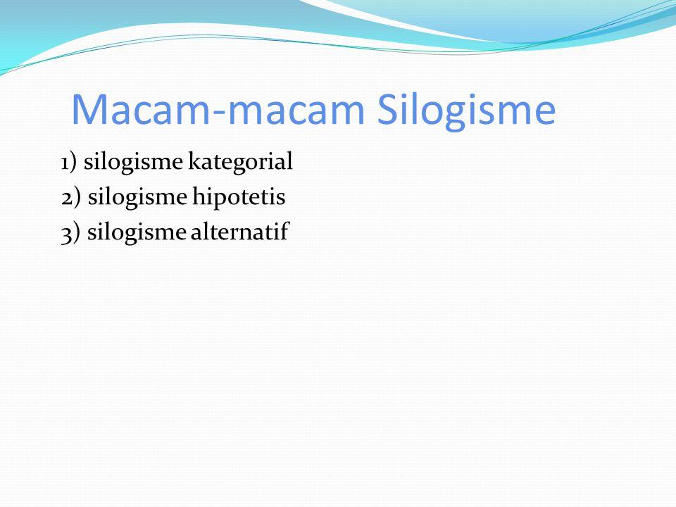 Macam-macam Silogisme 1) silogisme kategorial 2) silogisme hipotetis 3) silogisme alternatif
