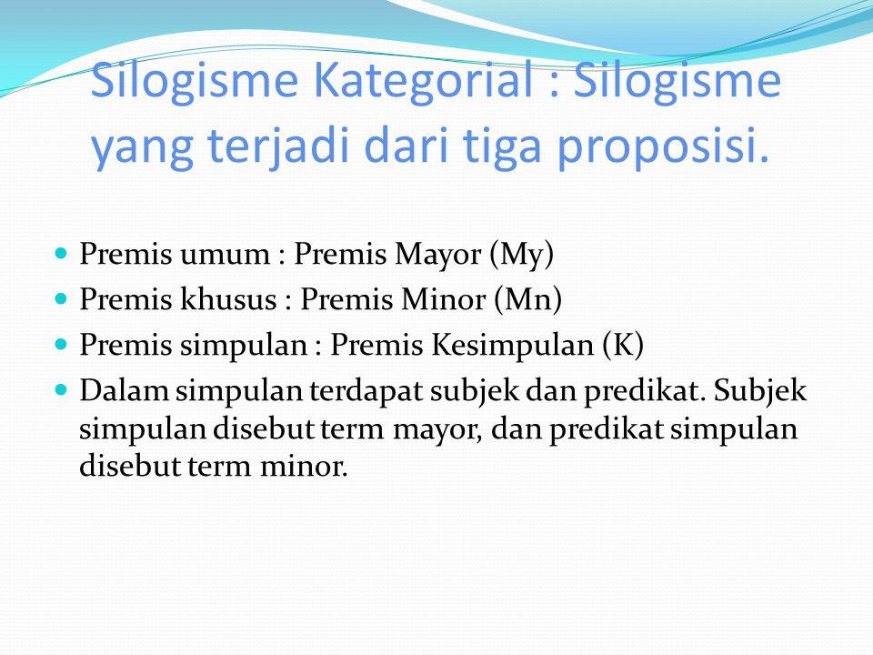 Silogisme Kategorial : Silogisme yang terjadi dari tiga proposisi.