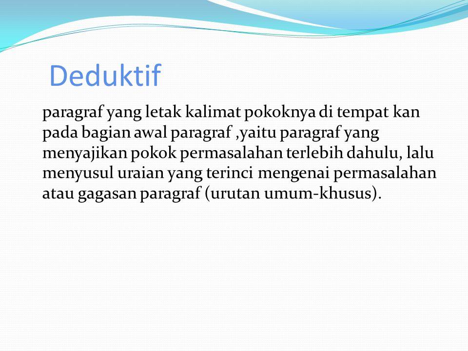 Deduktif paragraf yang letak kalimat pokoknya di tempat kan pada bagian awal paragraf,yaitu paragraf yang menyajikan pokok permasalahan terlebih dahulu, lalu menyusul uraian yang terinci mengenai permasalahan atau gagasan paragraf (urutan umum-khusus).